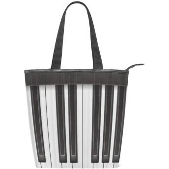 KENADVIトートバッグ 最高級 軽量 キャンバス レディース ハンドバッグ 通勤 通学 旅行バッグ、3Dピアノキーモダンエレガントな音楽テーマ、スタイリッシュ グラフィックス 収納袋