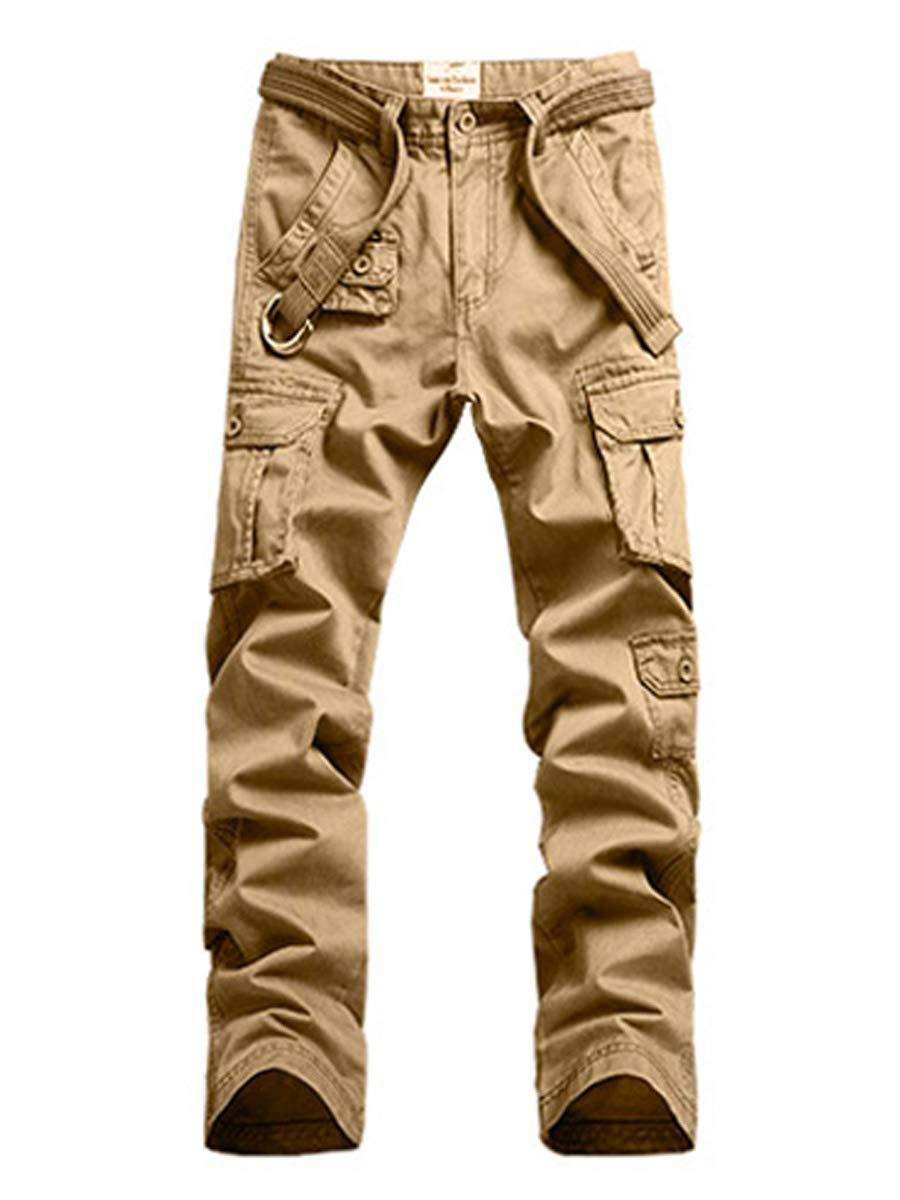 WAWAYA Mens Drawstring Camouflage Stitching Mid Rise Casual Jogging Pants