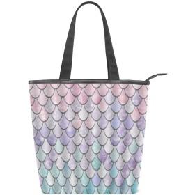 KENADVIトートバッグ 最高級 軽量 キャンバス レディース ハンドバッグ 通勤 通学 旅行バッグ、カラフルな人魚の鱗、スタイリッシュ グラフィックス 収納袋