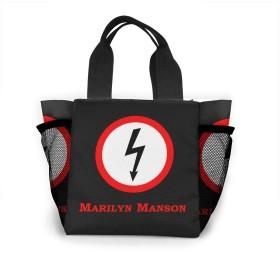 Marilyn Manson レディース 収納トートバッグ トート ハンドバッグ ショルダーバッグ 男女兼用 大型 オフィス 通勤 通学 ビジネス 出張 遠足