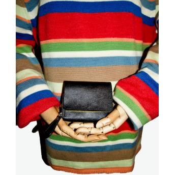 minne 国産牛革『ブラック×イエロー』 二つ折り財布