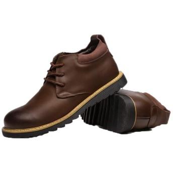 [GUREITOJP] メンズ デザートブーツ ショートブーツ 革靴 撥水加工 カジュアル 手縫い 軽量 厚底 丸み ふわふわ 通気快適 滑り止め 柔らか 耐磨耗 ビジネス 通勤 通学 普段履き おしゃれ ブラック ブラウン