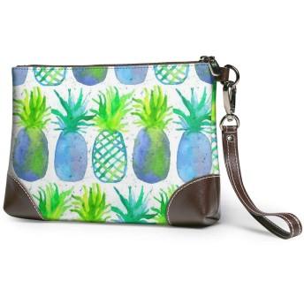 青のパイナップル クラッチバッグ セカンドバッグ 本革 人気 カジュアル 軽量 大容量 高級感 薄い 財布 結婚式 披露宴 フォーマルバッグ