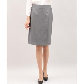 INED/イネド シルクウールラップ風スカート チャコールグレー3 07