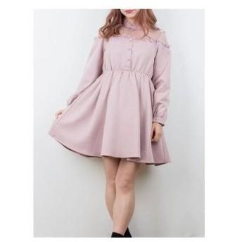ロジータ ROJITA バックリボンレース切替ワンピース (ピンク)
