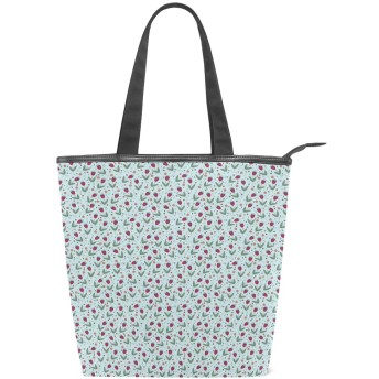 KENADVIトートバッグ 最高級 軽量 キャンバス レディース ハンドバッグ 通勤 通学 旅行バッグ、落書きスタイルベルフラワーモチーフ詳細淡いブルーの背景、スタイリッシュ グラフィックス 収納袋