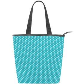 KENADVIトートバッグ 最高級 軽量 キャンバス レディース ハンドバッグ 通勤 通学 旅行バッグ、おいしいミルキーアイスクリーム振りかけるパターン冷凍デザートブルー、スタイリッシュ グラフィックス 収納袋
