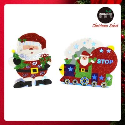 摩達客 聖誕金蔥彩繪LED電池燈吊飾對組-聖誕老公公+火車(一組兩入)