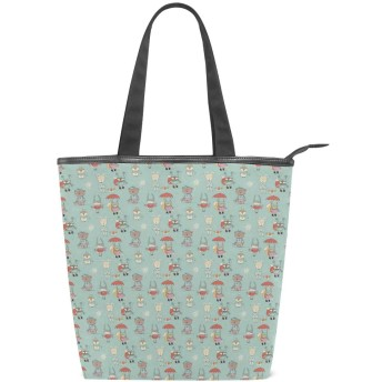 KENADVIトートバッグ 最高級 軽量 キャンバス レディース ハンドバッグ 通勤 通学 旅行バッグ、森の野生動物の冬服を落書き、スタイリッシュ グラフィックス 収納袋