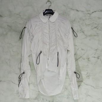 アキコアオキ AKIKOAOKI 19AW AK gathering shirt-01 01 レディース 丸襟 長袖 シャーリング シャツ ブラウス M