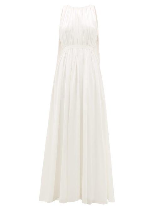 Roksanda - Aurelie Cape-back Silk-satin Gown - Womens - Ivory