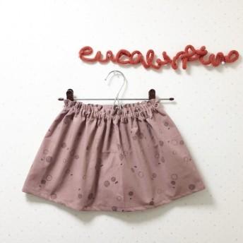 受注製作 コーデュロイ丸とリボン柄 くすみピンクのフリルウエストスカート