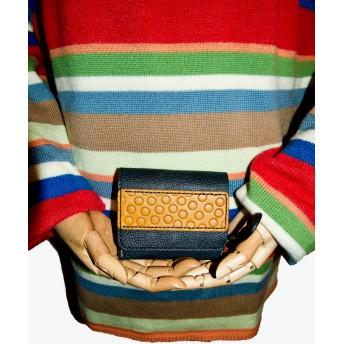 minne 『左利き用』国産ヌメ牛革二つ折り財布『丸型プレス加工マスタード』