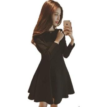 (プレクラースナ)可愛い お嬢様 萌え ワンピース ドレス ブラック Aライン フレア ミニスカート レディース 選べる 3 サイズ (L)