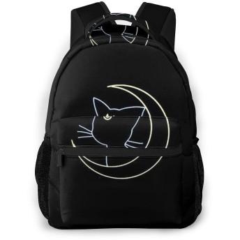 セーラームーン猫と月 バックパック 大容量 軽量 防水 耐衝撃 男女兼用