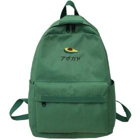 学生の女性の刺繍のバックパックのかわいい女性のナイロンスクールバッグの女の子のかわいいバックパックの防水本の女性の十代袋、緑、L28Cmw12Cmh39Cm