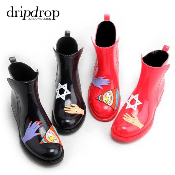 雨鞋女短筒成人雨雪靴時尚水鞋女春夏手繪風膠鞋切爾西套鞋防水雨鞋  全館免運