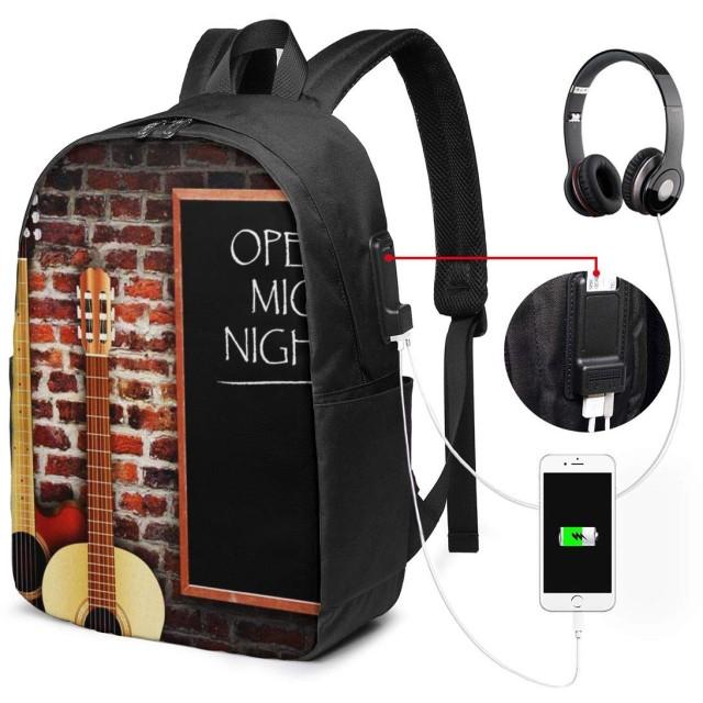 バックパック USB ポート搭載 17インチPC対応 レンガに対するギターキーボード 大容量ビジネスリュック 通勤 通学 出張 旅行 メンズ レディース