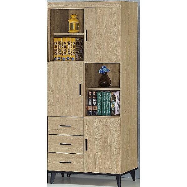 書櫃 書櫥 PK-473-1 芮緹黃橡木2.7X6.5尺三門三抽書櫥【大眾家居舘】