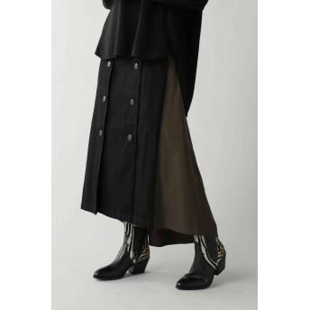 ローズバッド ROSE BUD フロント釦付イレヘムスカート ブラック -【税込10,800円以上購入で送料無料】