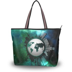 宇宙 星空 地球 世界地図 トートバッグ ハンドバッグ 手提げ かわいい レディース a4 通勤 大容量 肩掛けバッグ 学生 おしゃれ 通学