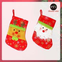摩達客 11吋雪花造型聖誕襪兩入組(聖誕老公 + 麋鹿)
