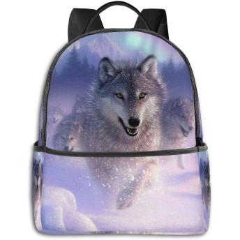 Wolf In Snow Heat ハイエンドのファッションシンプルで美しいファッションバックパック屋内および屋外の四季は、印刷プロセスフルフレーム印刷デザインを転送します