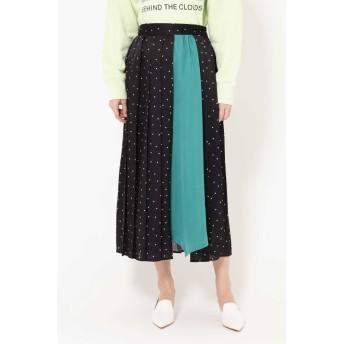 ローズバッド ROSE BUD プリントプリーツスカート ブラック -【税込10,800円以上購入で送料無料】