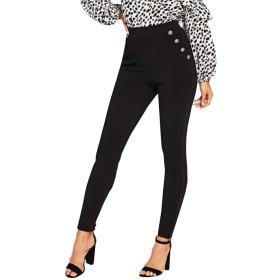 黒オフィスの女性のエレガントなソリッドポケットボタン詳細ハイウエストスキニーニンジンパンツ秋のファッション作業服の
