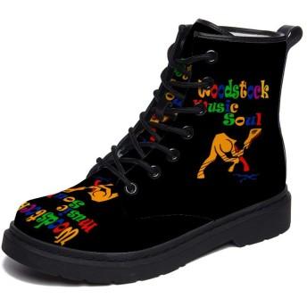 [AZ] 革ブーツ ショートブーツ メンズ レディース プレミアム ブーツ ウッドストック スノーブーツ PUレザー 革靴 防寒靴 ハイカット 防水 防滑 雪靴 裏起毛 ワークブーツ 厚底 22.5-28cm