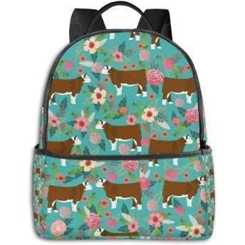 Hereford Cow Fabric Cattle Floral ハイエンドのファッションシンプルで美しいファッションバックパック屋内および屋外の四季は、印刷プロセスフルフレーム印刷デザインを転送します
