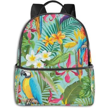 Tropical Flowers And Parrots ハイエンドのファッションシンプルで美しいファッションバックパック屋内および屋外の四季は、印刷プロセスフルフレーム印刷デザインを転送します