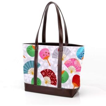 ハンドバッグ レディース トートバッグ AyuStyle 扇子柄 花柄 手提げバッグ マザーバッグ 大容量 通勤 通学 ショルダーバッグ かばん
