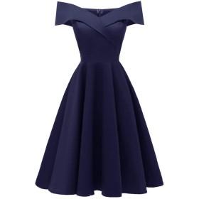 BaronHong Women 's Vintageエレガントオフショルダープリーツビッグスイングブライドメイドウェディングウエディングドレス(ネイビー、S)
