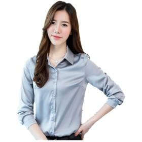 MARIAH(マリア)トップス サテン 長袖 シャツ vネック サテン レディース 3_3XL