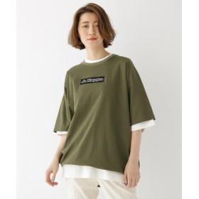 ベースステーション コラボ 別注 Kappa / カッパ バックジップ 半袖 Tシャツ レディース カーキ(027) 99(FREE) 【BASE STATION】