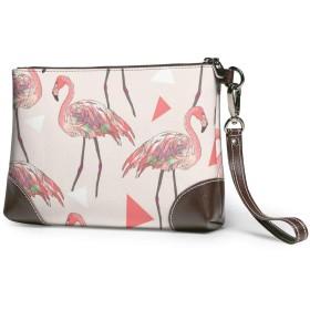 レザークラッチ 美しいフラミンゴ 財布 ボックス大容量 軽量 防水 人気 メンズ レディース 出張や旅行にを使用できます。