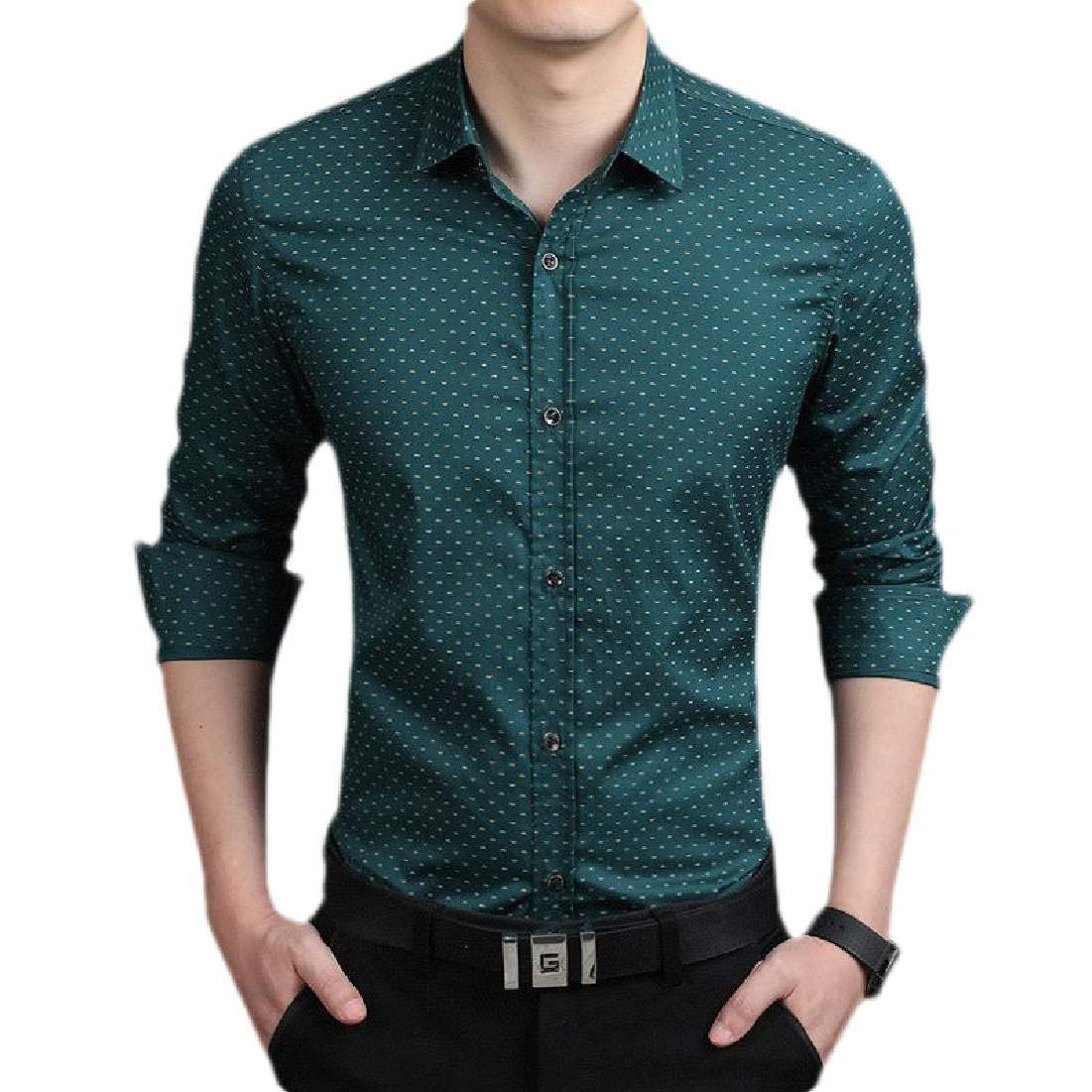 YUNY Men Stripe Long-Sleeve Relaxed Stylish Buttoned Slim T-Shirts Green M