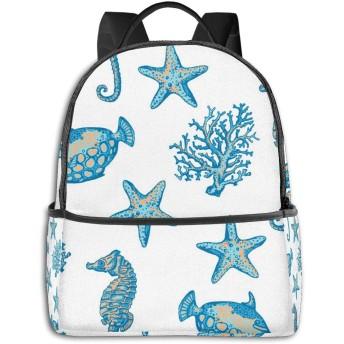 Seabed Corals Jellyfish Seahorse ハイエンドのファッションシンプルで美しいファッションバックパック屋内および屋外の四季は、印刷プロセスフルフレーム印刷デザインを転送します
