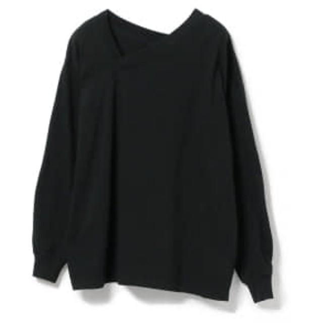 Ray BEAMS Ray BEAMS / アシメ Vネック Tシャツ レディース カットソー BLACK ONE SIZE