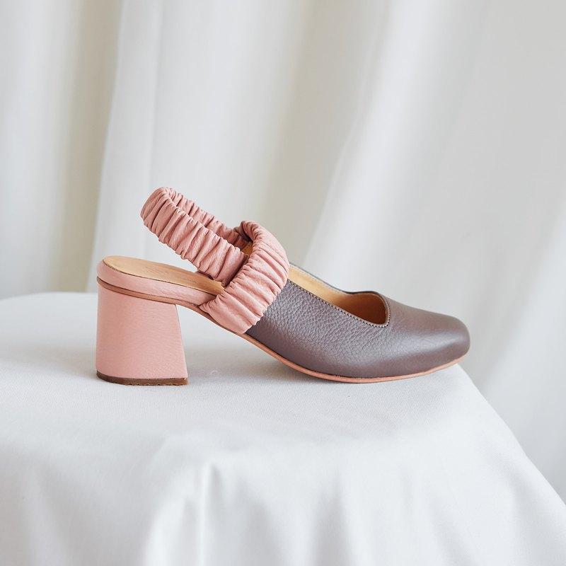 Brown:Baby Pink - PEONY Slingback Heels