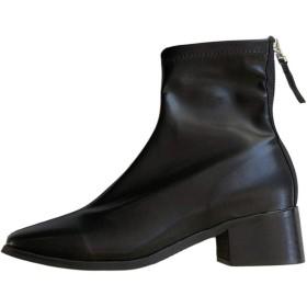 [BiaoYiTen] ショートブーツ レディース ミドルブーツ 黒 レディースブーツ 大きいサイズ 靴 スクエアトゥ ブーツ ハイカットブーツ レディース マーティンブーツ レディース 歩きやすい 厚底靴 黒 太ヒール ブーツ レディースシューズ (22.5, ブラック)