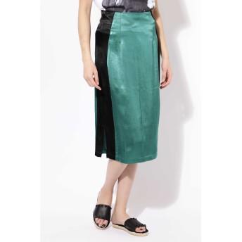 ローズバッド ROSE BUD 配色スカート グリーン -【税込10,800円以上購入で送料無料】