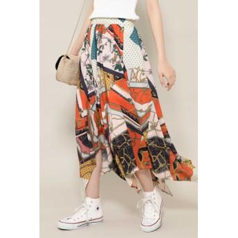 ローズバッド ROSE BUD スカーフプリントスカート オレンジ -【税込10,800円以上購入で送料無料】
