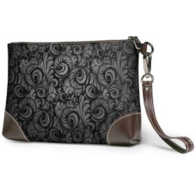 レザークラッチ 黒花柄 財布 ボックス大容量 軽量 防水 人気 メンズ レディース 出張や旅行にを使用できます。