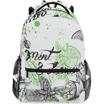 MISCERYリュックサック,ベクター背景デザインレモンミント,大容量の学生の子供のバックパックの若者の男性と女性は、ファッション性格カスタムパターン旅行バッグ耐久性のあるスポーツアウトドアを