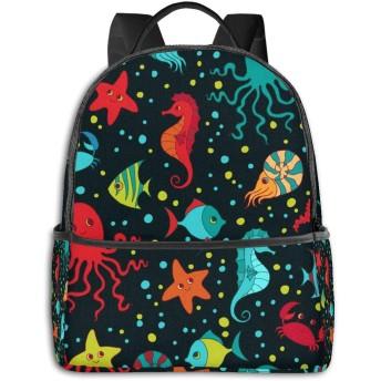 Cute Sea Creatures ハイエンドのファッションシンプルで美しいファッションバックパック屋内および屋外の四季は、印刷プロセスフルフレーム印刷デザインを転送します