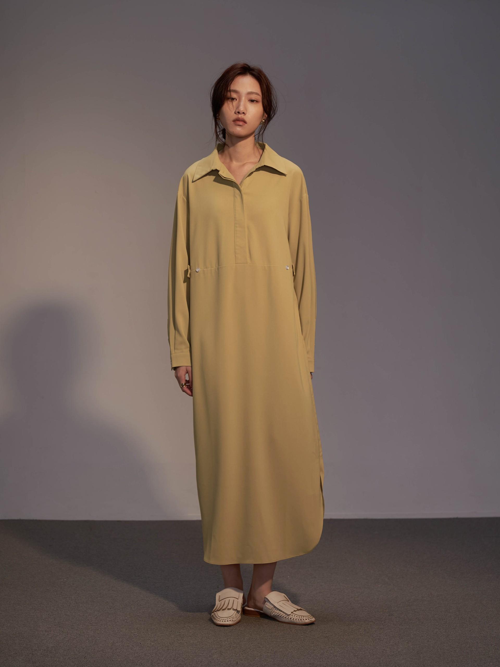 半開襟側釦調節洋裝-mouggan