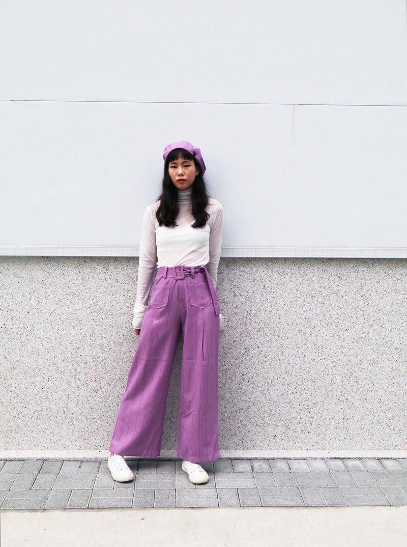 紫格子系附腰帶寬褲 大人