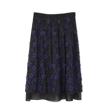 ジル スチュアート JILLSTUART フローラフラワー刺しゅうスカート BLUE 2【税込10,800円以上購入で送料無料】